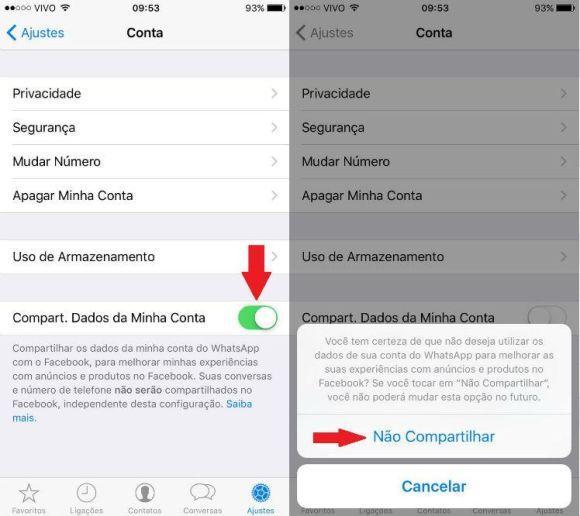 Cancelando o compartilhamento de informações do WhatsApp no iPhone (Foto: Reprodução internet)