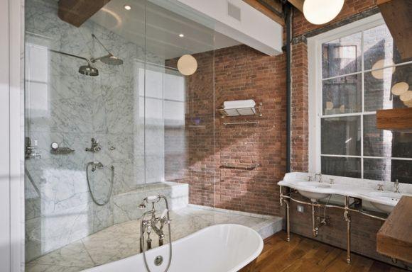 Baño Pintado De Verde:Decoração de apartamentos com tijolinhos