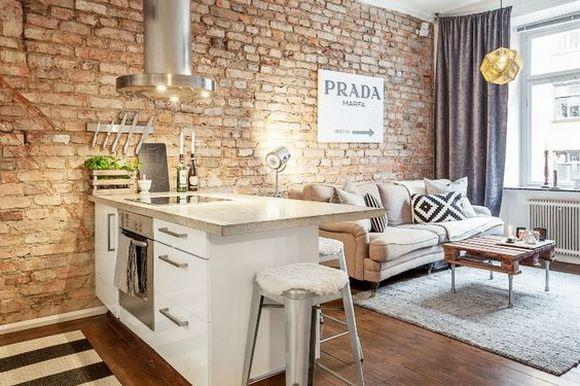 Decoração de apartamentos com tijolinhos (Foto Ilustrativa)