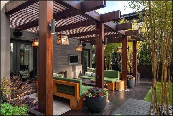 mini jardim oriental : mini jardim oriental:Pergolado lindo de madeira (Foto: Divulgação)