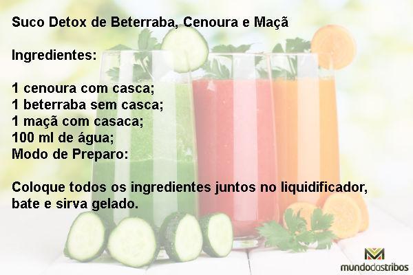 Suco Detox de Beterraba Cenoura e Maçã