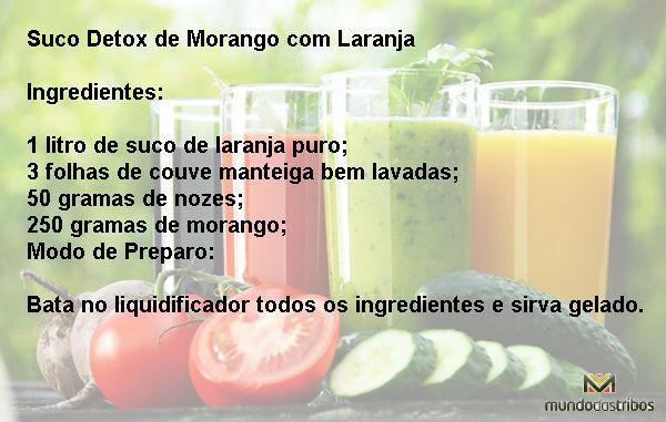 Suco Detox de Morango com Laranja