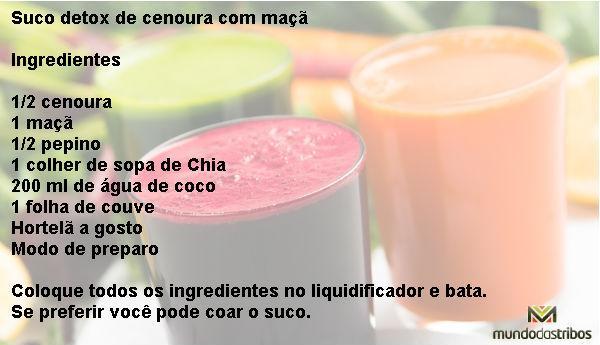 Suco detox de cenoura com maçã