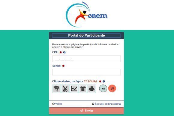 Para ter acesso ao cartão, é preciso fazer login na página do Enem (Foto: Reprodução INEP)