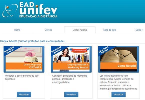 UNIFEV cursos gratuitos EAD 2016