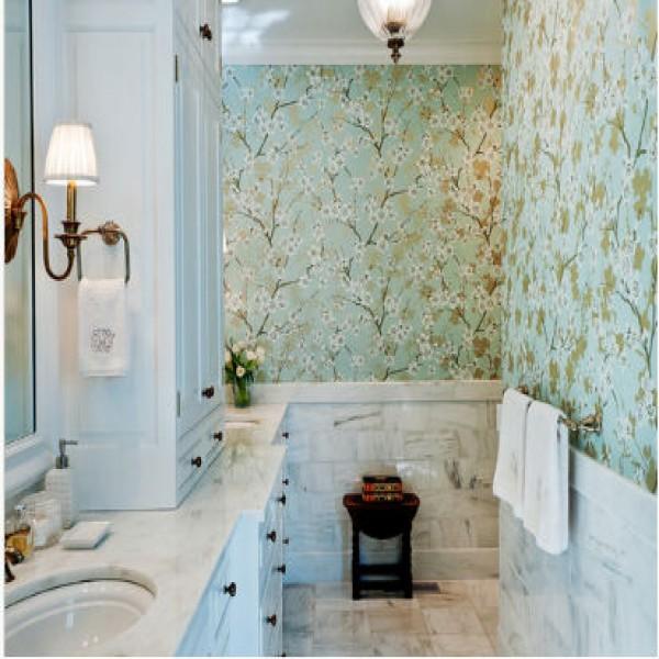 Papel de parede para banheiro modelos para decorar - Papel para revestir paredes ...