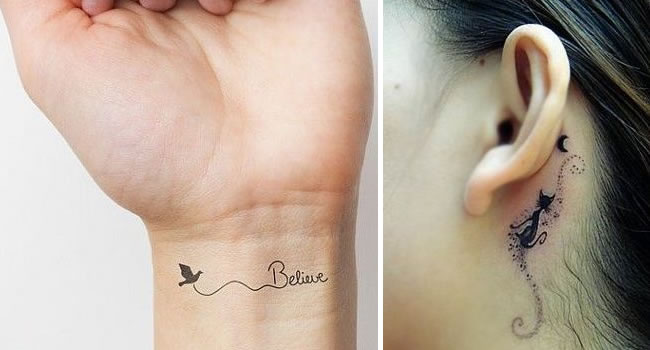 Tatuagens delicadas no pulso feminino