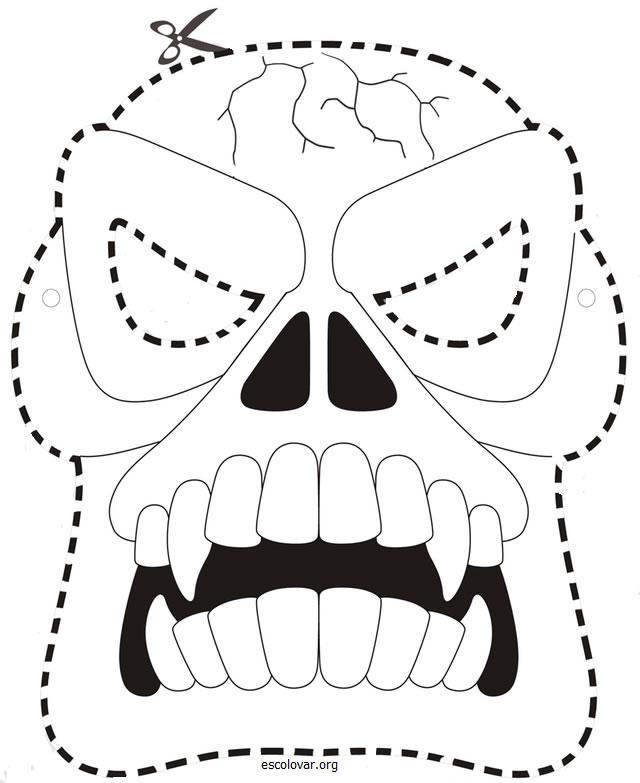 Mascaras De Halloween Para Colorir