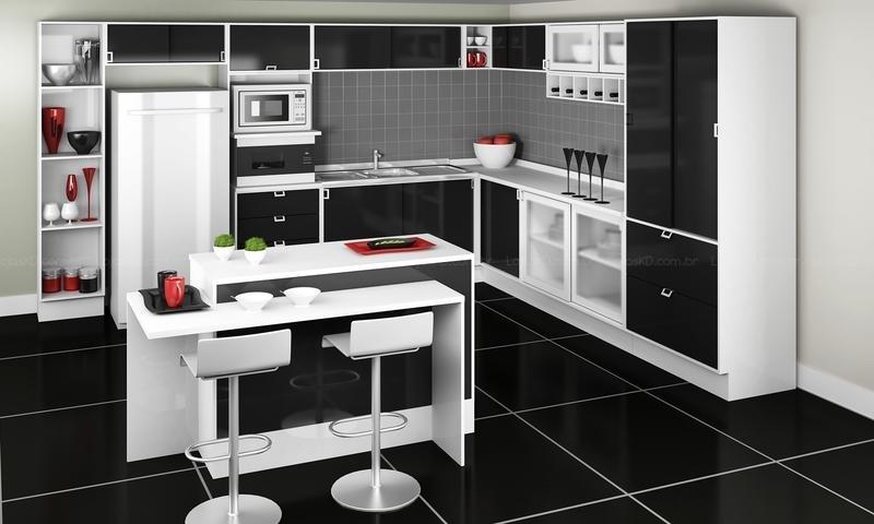 Cozinha Decorada Em Branco E Preto Beyatocom Vários Desenhos