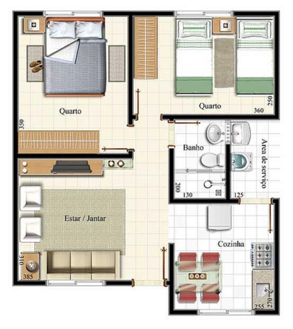 25 plantas de casas modernas com projeto 3d lindos for Casa moderna 7x15