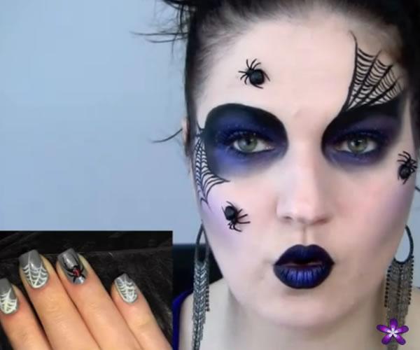 maquiagem Halloween com aranhas