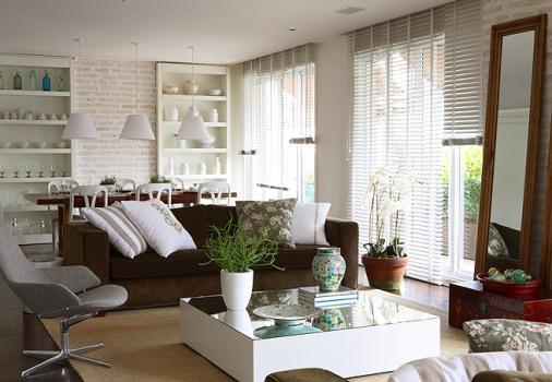 Sala De Estar Moveis Marrom ~ Decoração de sala com sofá marrom  MundodasTribos  Todas as