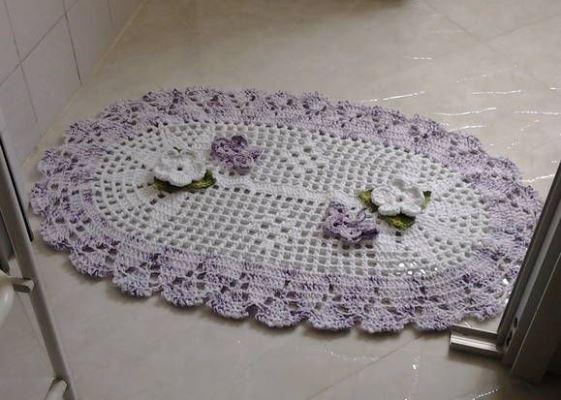 tapete de barbante de cozinha florido e colorido