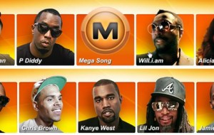 Artistas reunidos para promover o MegaUpload