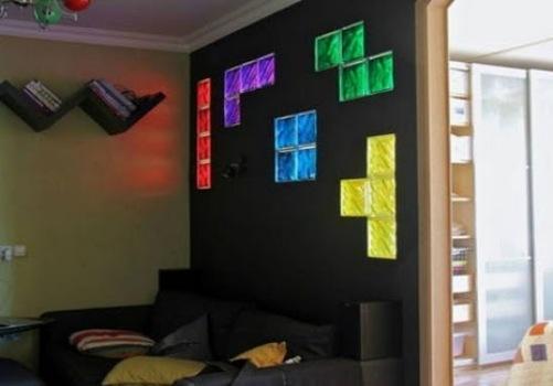 Decoração inspirada no jogo Tetris.