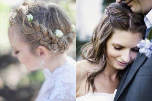 Os penteados elegantes das mulheres que casam no verão contam com as tranças.