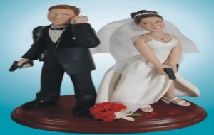 Decoração de bolo de casamento engraçada