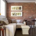 418141 sala com parede de tijolinho 150x150 Fotos de iluminação para sala