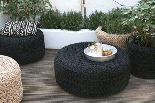 mobiliario de jardim em rattan sintetico:Pneus usados na decoração dicas, fotos 2