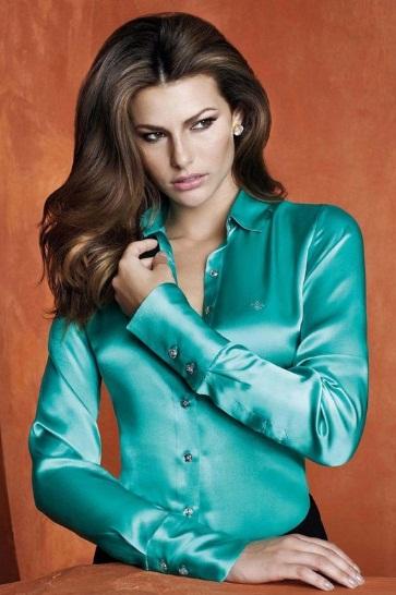 92612829136 Camisa de seda feminina modelos