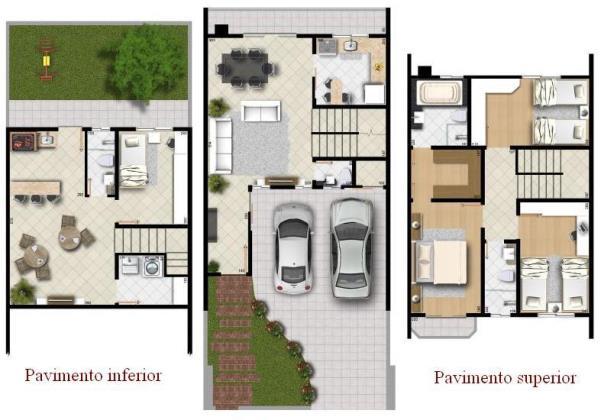 Planta de casas com 3 quartos mundodastribos todas as for Jardins mangueiral planta 3 quartos