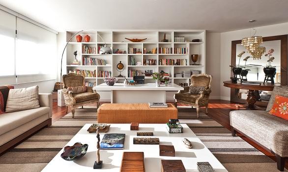 Sala Estar Con Home Office ~ ampla área social cedeu espaço para o home office
