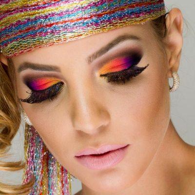 maquiagem para Carnaval colorido