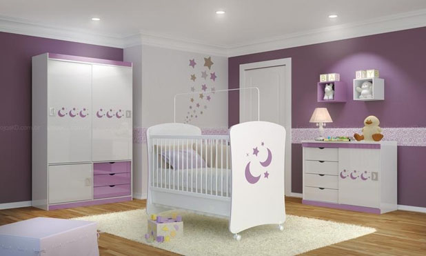 Decoração de Quarto de Bebê Lilás ~ Quarto Casal Lilas E Branco