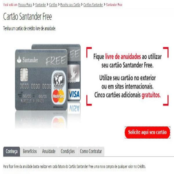 Cart o santander free visa mastercard fatura superb nus for Atendimento santander no exterior