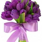 642358 Buquês de tulipas e laço lilás. 150x150 Buquês de noiva simples: fotos