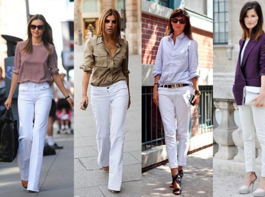 Looks neutros e discretos, com calça branca (Foto: Divulgação)
