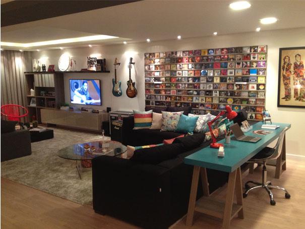 decoracao de sala para homens solteiros:decoração masculina para os amantes de música foto divulgação