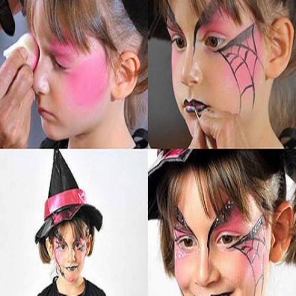 Maquiagem de Halloween infantil em tatuagens