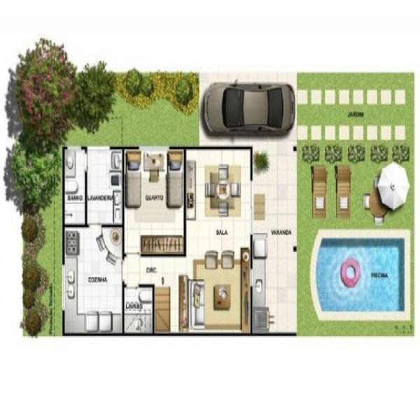 Plantas de casas pequenas com piscinas for Piscinas para casas pequenas