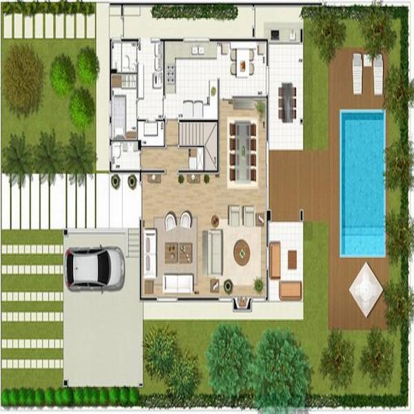 Plantas de casas pequenas com piscinas mundodastribos for Plantas arquitectonicas de casas