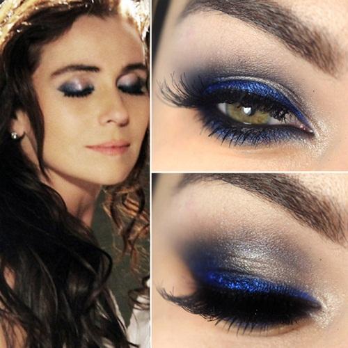 Maquiagem para madrinha com vestido azul marinho