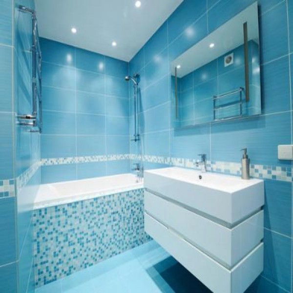 15 banheiros decorados com pastilhas for Imagenes de pisos decorados