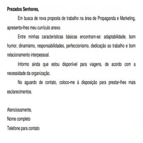 carta de apresentação para currículo