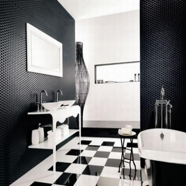 Banheiro decorado preto e branco for Imagenes de pisos decorados