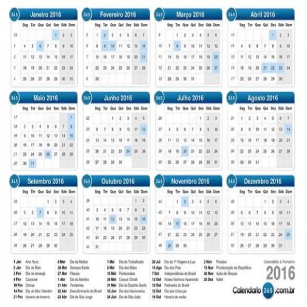 Calendario 2016 Bristol