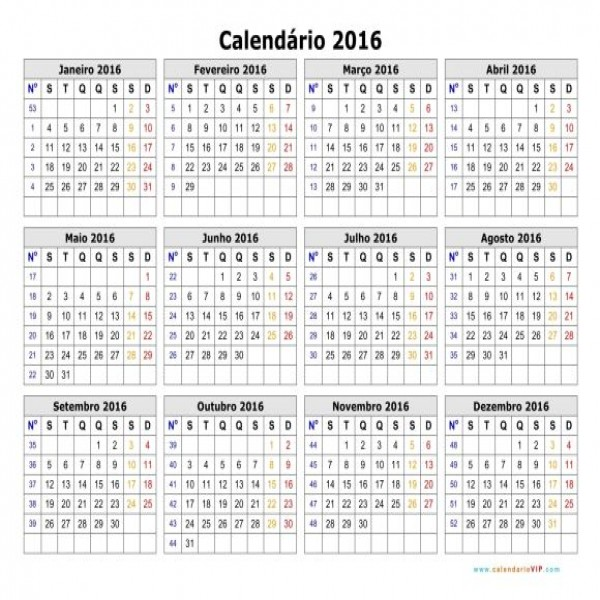 Nessa versão, você pode conferir a numeração das semanas (Foto ...