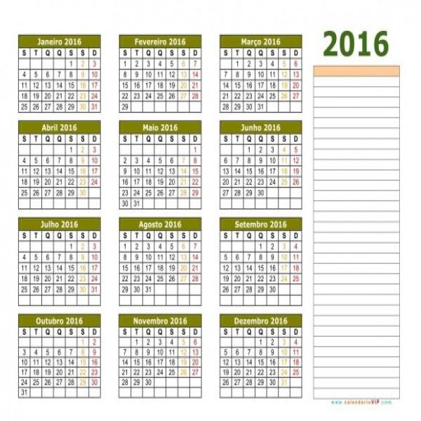 Já nesse calendário, há espaço para anotações (Foto Ilustrativa)