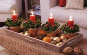 Decoração para o Natal 2015 com velas e plantas