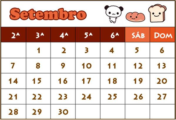 Calendário Setembro 2009