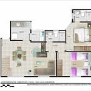 planta de apartamentos grátis, pequenos, com medidas 3