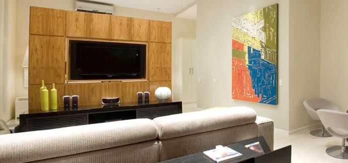Sala Com Tv Led Na Parede ~ Painel de Madeira para TV LCD  MundodasTribos  Todas as tribos em um